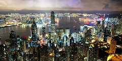 Hong Kong from Victoria Peak * (Rupert Procter) Tags: buildings landscape lights scenery long exposure harbour peak victoria panoramic hong kong scifi  rwp juanchai juanchaihk