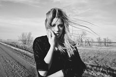 (emmakatka) Tags: portrait blackandwhite snow black cold tree girl self vintage hair belt spring tears crying roots velvet northdakota prairie shelter emmakatka