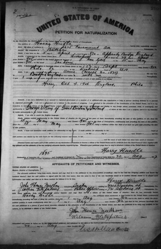 Petition for Naturalization (Naturalisation Record) Harry Hindle 20 Aug 1917