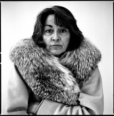 Cindy is my Mother (cole emde) Tags: portrait people blackandwhite bw woman 120 film monochrome mediumformat fur mom monochromatic furcoat hasselblad human 501cm foxfur