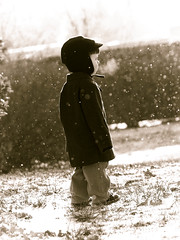 snowy dream (Mary Ann Moses Photography) Tags: family winter boy blackandwhite bw snow blancoynegro hat weather childhood kids vintage children outside child magic peaceful retro dreams highkey dreamlike lightroom