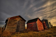 The Granaries (A guy with A camera) Tags: wood light red sky canada clouds rural wooden nikon farm country farming grain shed sigma alberta prairie agriculture 1020mm bins hdr granary granaries d80 diamondclassphotographer betterthangood