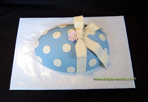 Blue fondant egg cake