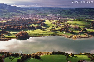Switzerland, view on the city of Bulle, Gruyère Region.