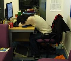 Working late (KyroII) Tags: girl youth student sleep asleep atwork studentlife workinglate busyday a720is asleepatdesk