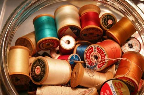 wood spools of thread