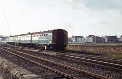 Class 126 departs Prestwick for Glasgow Central mid 1970s.  I. Middleditch collection