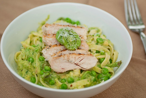 Pasta with Fiddleheads, Ramp Pesto and Avocado Cream