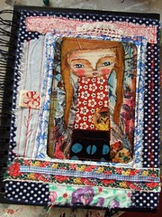 Journal - mixed media fabric art (Susana Tavares) Tags: girl cat journal gato menina dirio illustrao fabricart mixedmediaart ateliersusanatavares quiltedjournal