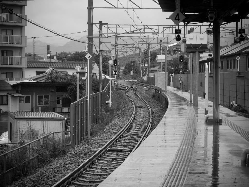 a rainy platform