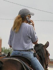 The rural executive and her horse phone