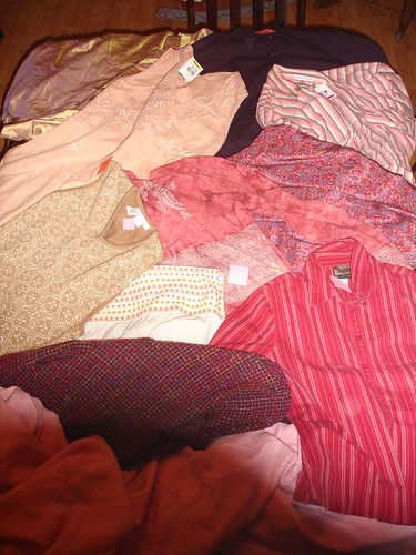 thrift store clothes to be recycled into pillows