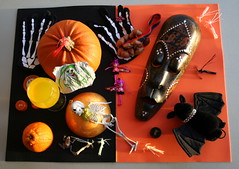 Halloween Pumpkin etc. (Caro's Lines) Tags: orange black halloween pumpkin skeleton photo mask bat shrimp dome orangejuice rhinestones barrette bottletops skeletongloves hairslide skeletonhands twtmesh370708