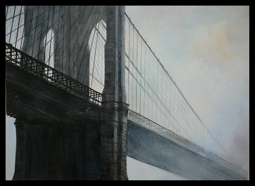 Brooklyn Bridge mist.Watercolour