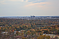 Downtown Birmingham Alabama from Ruffner Mountain (Southernpixel - Alby Headrick) Tags: autumn red usa color fall photography birmingham alabama trails naturallight down thesouth alby daytripper southernpixel albyusblog