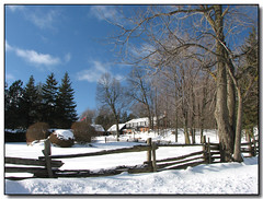 Blue Skies (Lisa-S) Tags: blue trees winter sky house snow ontario canada fence landscape lisas explore allrightsreserved caledon 5280 interestingness205 i500 anawesomeshot copyrightlisastokes