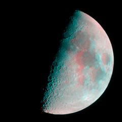 First Quarter Moon in 3D (Ray Tomes) Tags: moon 3d first anaglyph quarter redcyan raytomes