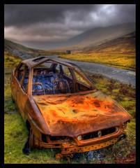Off Road (Wondertubs) Tags: mountains car river scotland highlands rusty wreck fordescort burnedout glenroy parallelroads