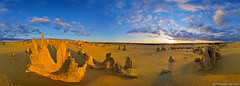 The Pinnacles at sunset (neilcreek) Tags: old travel blue sunset shadow red sky panorama orange cloud brown sun color colour tourism nature beautiful sunshine yellow rock stone clouds landscape outside gold golden nationalpark ancient scenery colorful warm ray quiet glare exterior view desert natural bright scenic warmth vivid peaceful sunny australia wideangle landmark tourist fisheye dirt serenity stunning vista environment serene rays backlit colourful geology sunrays cervantes westernaustralia magnificent touristattraction bold pinnacles rockformation horizontalorientation