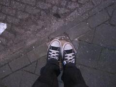 Me & my AllStars standing on a pole. (Marlonnie) Tags: street blue white black stone shoe shoes pants stones sneakers pole sidewalk converse trousers chuck marlon chucks laces allstars