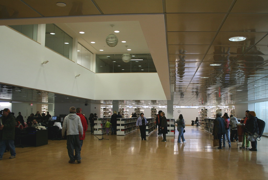 Entry area of the Hartford Public Library. Photo by H Brandon