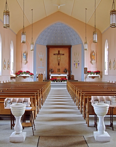 Immaculate Conception Roman Catholic Church, in Saint Mary, Missouri, USA - nave