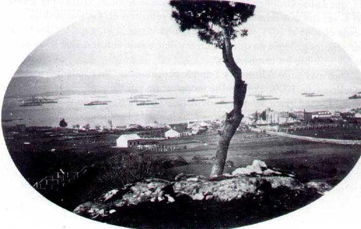 La flota inglesa en la Ría. Año 1900.