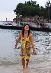 Beautiful Chinese tourist at Sentosa (hunting_owl) Tags: sea cute sexy beach girl beautiful beauty asian pretty natural chinese adorable babe cutie teen cleavage sentosa girlnextdoor syt