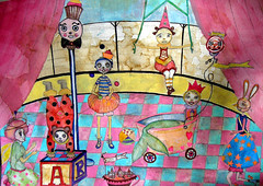 circus watercolor (Lisa Kettell) Tags: carnival art illustration watercolor children ballerina circus mixedmedia clown muse fairy fantasy mermaid pierrot enchanting storybookillustration lisakettell njartist samuelcandymoorecircus lisakettelldesigns lisakettellillustrations