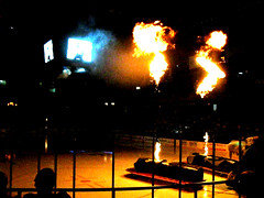 The Rosemont Wolves (tacosnachosburritos) Tags: chicago hockey fire rosemont explosions skates cheesey pyrotechnics whitetrashentertainment thewolves awolf ihlhockey