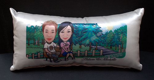caricatures on long cushion