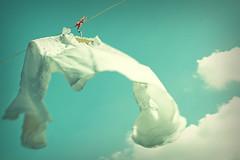 ~~*~~ ([ angela ]) Tags: sun spring wind fresh laundry blauerhimmel frhling prettyclouds whiteblouse artlibres freshbreeze ontheclothesline wolkenwiewattebllchen meineweiselieblingsbluse