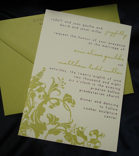 Wedding Invitations - Erin and Matt, Lime flower wedding invitations, wedding cakes, flowers, invitation, photos, gowns, dresses