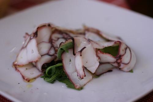 sliced octopus salad