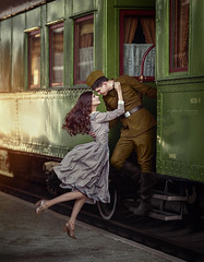 *** (IrinaDzhul) Tags: people portrait popular girl love train soldiers war meeting retro car levitation hair green face man woman window fly