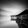 House Over Water (~ superboo ~ [busy busy]) Tags: longexposure morning water restaurant bay san francisco over tranquility overcast pilings sausalito spinnakers