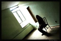 (Emily Esperanza) Tags: school shadow green abandoned girl silhouette chair catholic room dream eerie creepy disturbing boarding backlighting vintageplastic