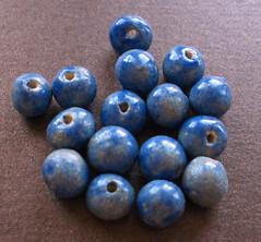 Dappled Blue Handmade Ceramic Beads