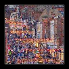 Guildford..24 Nov 2007 (strussler) Tags: christmas england people canon shopping eos 350d lights saturday sigma surrey guildford highstreet hdr shoppers 3xp photomatix tonemapped abigfave flickrplatinum strussler