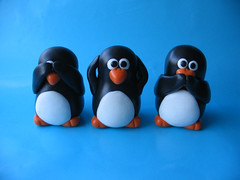 See No Evil - Three Wise Penguins (fliepsiebieps1) Tags: sculpture cute bird penguin penguins no crafts seenoevil evil polymerclay clay figure figurine hear
