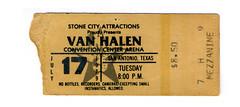Van Halen 1979 Concert Ticket Stub