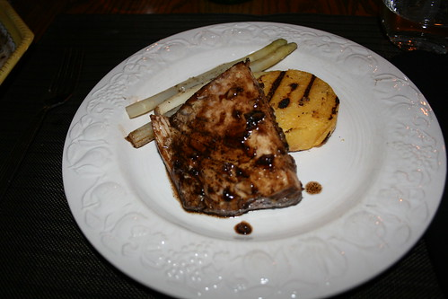 halibut with balsamic reduction and polenta cake