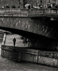a man and his dog (somebody_) Tags: life bridge people blackandwhite bw paris france art walking europe alone quality solitary parisian hayat lightroom insan urbanlife seineriver underbridge avrupa fransa yalnizlik thelittledoglaughed siyahvebeyaz fotografca lesparisiens dnyadaninsanmanzaralar dunyamdaninsanmanzaralari