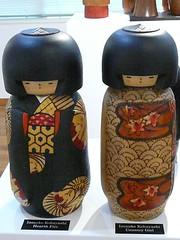 Kokeshi Twins in Kimonos (ighosts) Tags: wood cute girl smile japan twins colorful dolls kimono japanesedolls fabulous kokeshi kimonos countrygirl woodendolls hearthfire creativedollsjapanesewoodendolls creativedolls