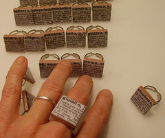 VocabolAnelli (Guendi Made by Me) Tags: paper word handmade ring rings tiles resin recycle scrap dictionary parole anelli vocabolario guendicom