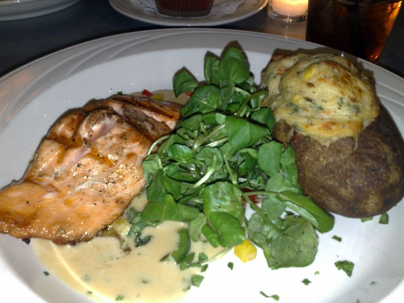 Scottish Salmon with Lobster Stuffed potato