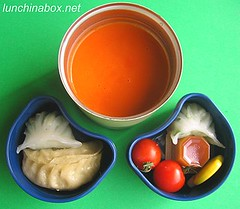 Roasted pepper and tomato soup bento lunch for preschooler