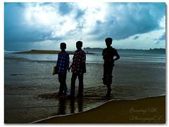 Coming home now... (      Sandeep     ) Tags: sea sky people india beach kids clouds three kodak sandeep kerala tamilnadu fromschool anawesomeshot travelerphotos