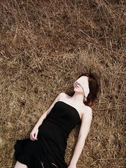She Hoped He'd Miss Her (JoniLynne) Tags: red white black field grass yellow hair dead death die dress blind skin wheat meadow ground pale tall dying died blindfold noreen blindfolded minidress