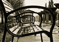 Have a Seat (scottbush) Tags: park city urban blackandwhite bw usa chicago lines rain sepia modern america bench scott landscape outside illinois bush midwest pattern unitedstates circles seat sony tunnel cybershot millennium lakemichigan rainy adobe backgrounds grantpark millenniumpark benches lakefront 312 lightroom publicparks presets w100 sonyw100 diamondclassphotographer scottbush stylem oracosm